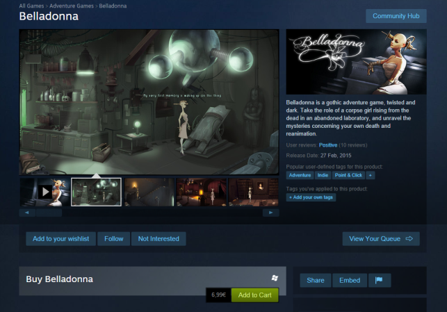 Belladonna is now available on Steam